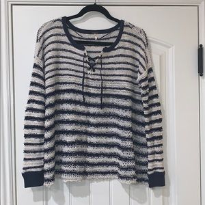 Free People lace up sweater